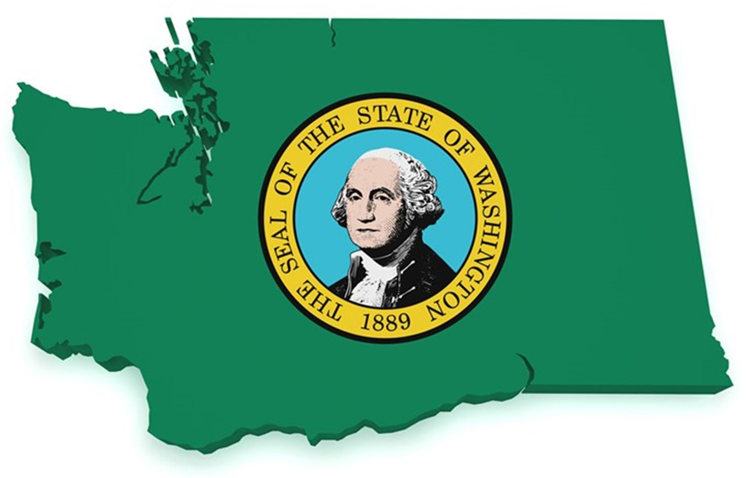 State of Washington outline with the state seal in the center